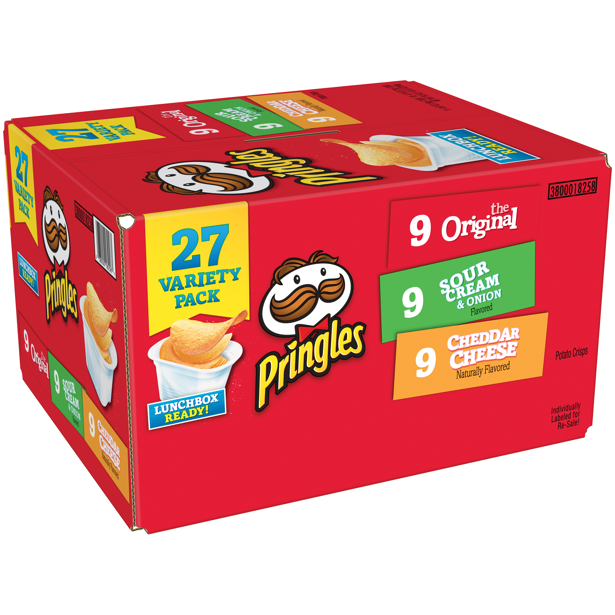 Pringles Original, Sour Cream & Onion and Cheddar Cheese Potato Crisps Chips Variety Pack 27 ct