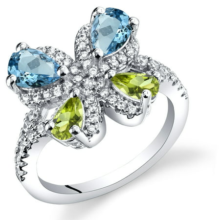 Blue Topaz Butterfly Ring - 1.50 Carats Swiss Blue Topaz and Peridot Butterfly Ring in Sterling Silver