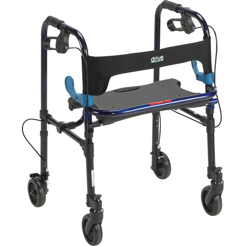 "Drive Medical Clever Lite Walker Rollator, Adult, 5"" Wheels, Flame Blue"