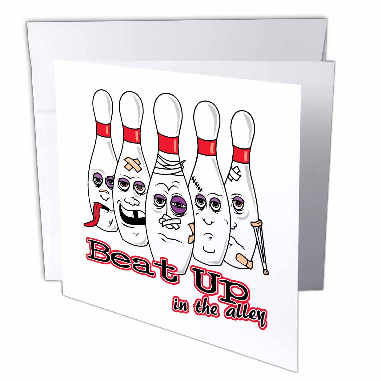 3dRose Beat Up In The Alley Bowling Pins Sports Design Humor, Greeting Cards, 6 x 6 inches, set of 12