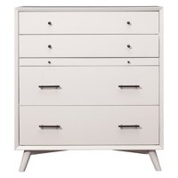 Flynn Mid Century Modern 4 Drawer Multifunction Chest with Pull Out Workstation Tray in White Finish