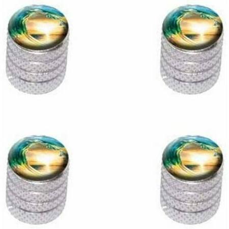 Ocean Wave Sunset Beach Sea Tire Rim Wheel Aluminum Valve Stem Caps, Multiple Colors (Beach Tires)