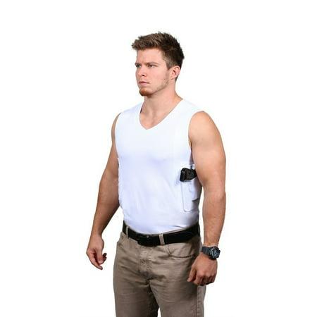 Ridge Shirt Mens Packin Tee Concealment V-Neck Sleeveless White (Mens Ridge Master)