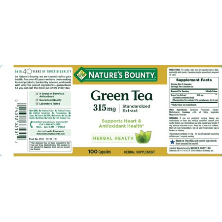 Nature's Bounty® Green Tea Extract 315 mg (Contains EGCG), 100 Capsules