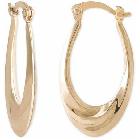 Swirl Disc Earrings (Yellow Gold over Sterling Silver Swirl Oval Hoop)