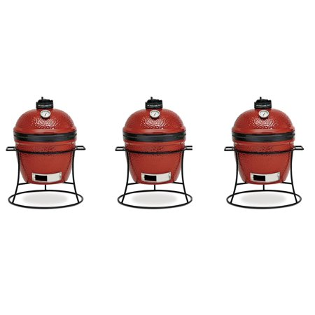 Kamado Joe Joe  Jr  Portable Outdoor Charcoal Grill & Sturdy Stand, Red (3  Pack)