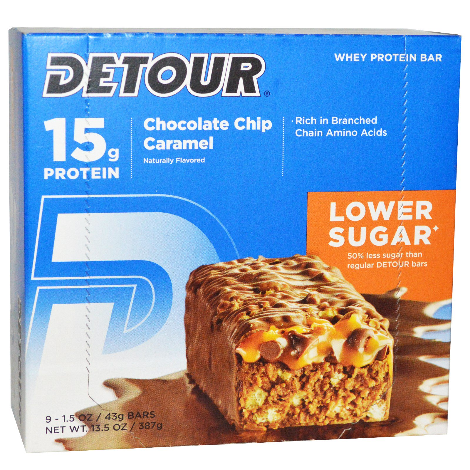 Detour, Whey Protein Bar, Chocolate Chip Caramel, 9 Bars,...