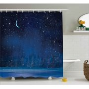 dark blue shower curtain. Moon Decor Shower Curtain  Mystic Winter Wonderland with Starry Sky Dark Night Magical Forest Landscape Blue Curtains
