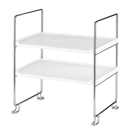 Stackable Storage Shelves (2-Tier Freestanding Stackable Organizer Shelf Storage Rack for Kitchen Bathroom Countertop or Cabinet )