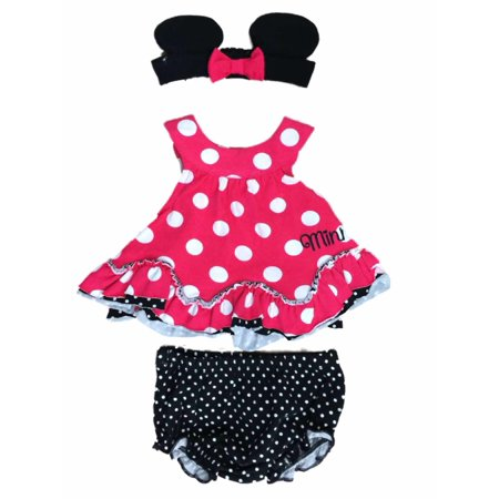 Disney Infant Minnie Mouse Pink Black & White Polka Dot Girls 2 Piece Outfit - Minnie Mouse Outfit For Women