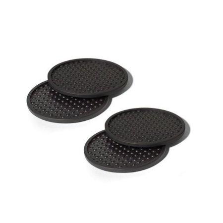 Spectrum Diversified Bubble Coasters, Set of 4, Black (Round Black Coasters)