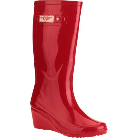 d814b970d2c Forever Young Women's Solid Wedge Tall Rain Boot