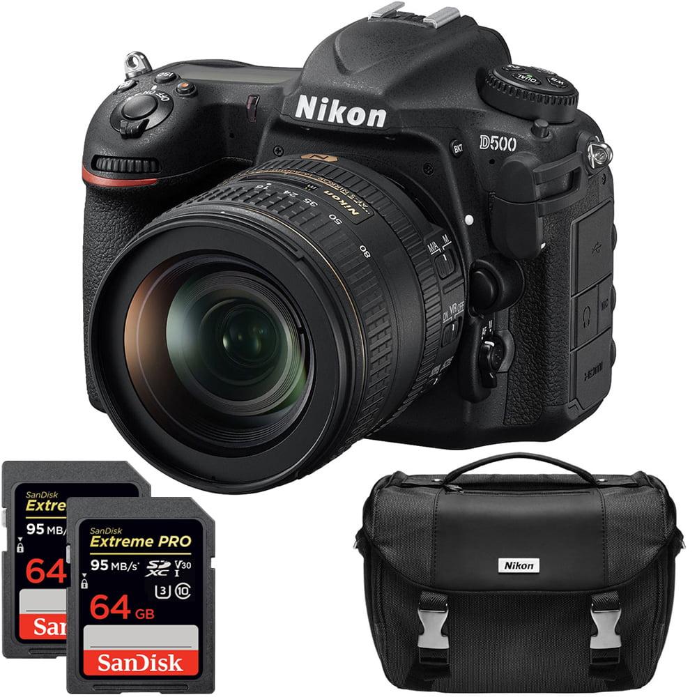 Nikon D500 20.9 MP CMOS DX Format Digital SLR Camera w/ AF-S DX NIKKOR 16-80mm f/2.8-4E ED VR Lens Kit Includes Dual Sandisk Extreme PRO 64GB SDXC UHS-1 Memory Cards and Nikon Deluxe SLR Camera Bag