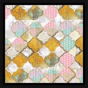Abstract Polka Dot Quatrefoil Distressed Painting Pink & Gold, Framed Canvas Art by Pied Piper Creative