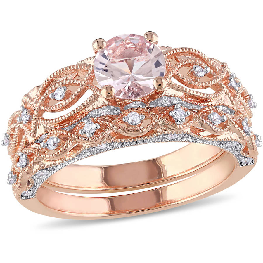 Tangelo 4 5 Carat T.G.W. Morganite and 1 4 Carat T.W. Diamond 10kt Rose Gold Vintage Bridal Set by Tangelo