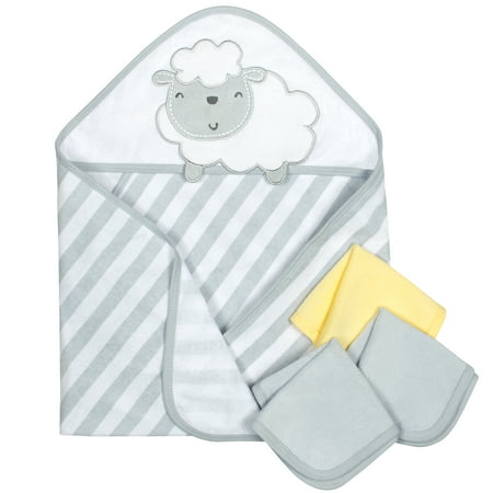 Gerber Baby Terry Hooded Towel & Washcloths, Lamb, 4 Piece Bath Set