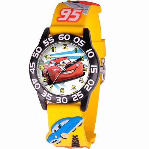Disney Cars Lightning McQueen Boys' 3D Plastic Watch, Yellow Strap