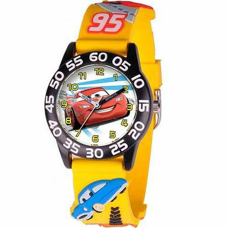 Disney cars lightning mcqueen boys 39 3d plastic watch yellow strap for Mcqueen watches