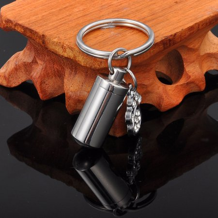 Crystal Dog Paw Cylinder Cremation Jewelry Keepsake Memorial Pet Urn Key Chain