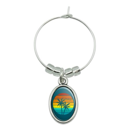 Sunset with Palm Trees Graphic Wine Glass Oval Charm Drink Marker Palm Tree Wine