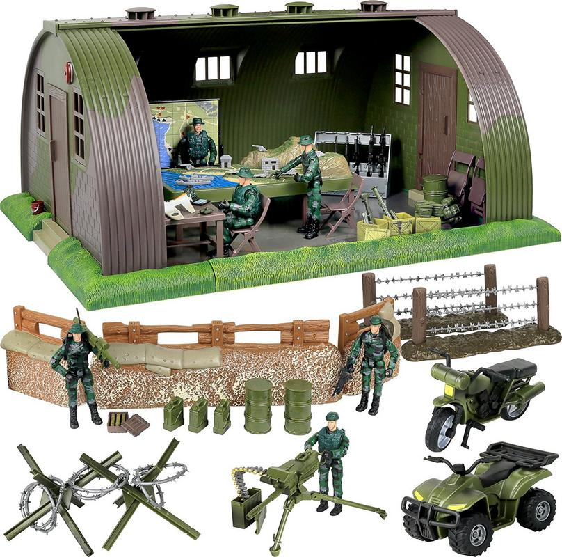 Click N Play Mega Military Army Base Barrack Command Center Play Set With Accessories, 74 Pieces by Click N' Play