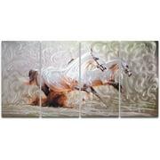 Metal Artscape Wild Horses 4 Piece Graphic Art Plaque in White