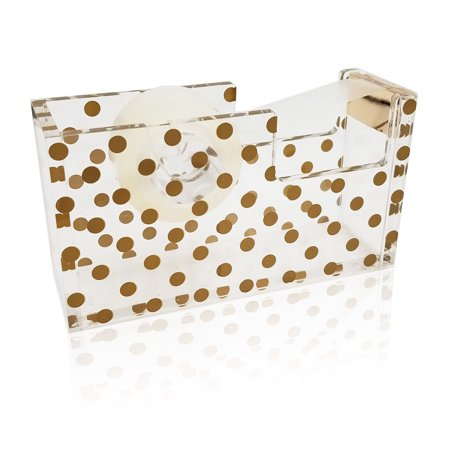 OnDisplay Luxe Acrylic Clear and Metallic Gold Tape Dispenser - Gold Polka Dot - Gold Tape Dispenser