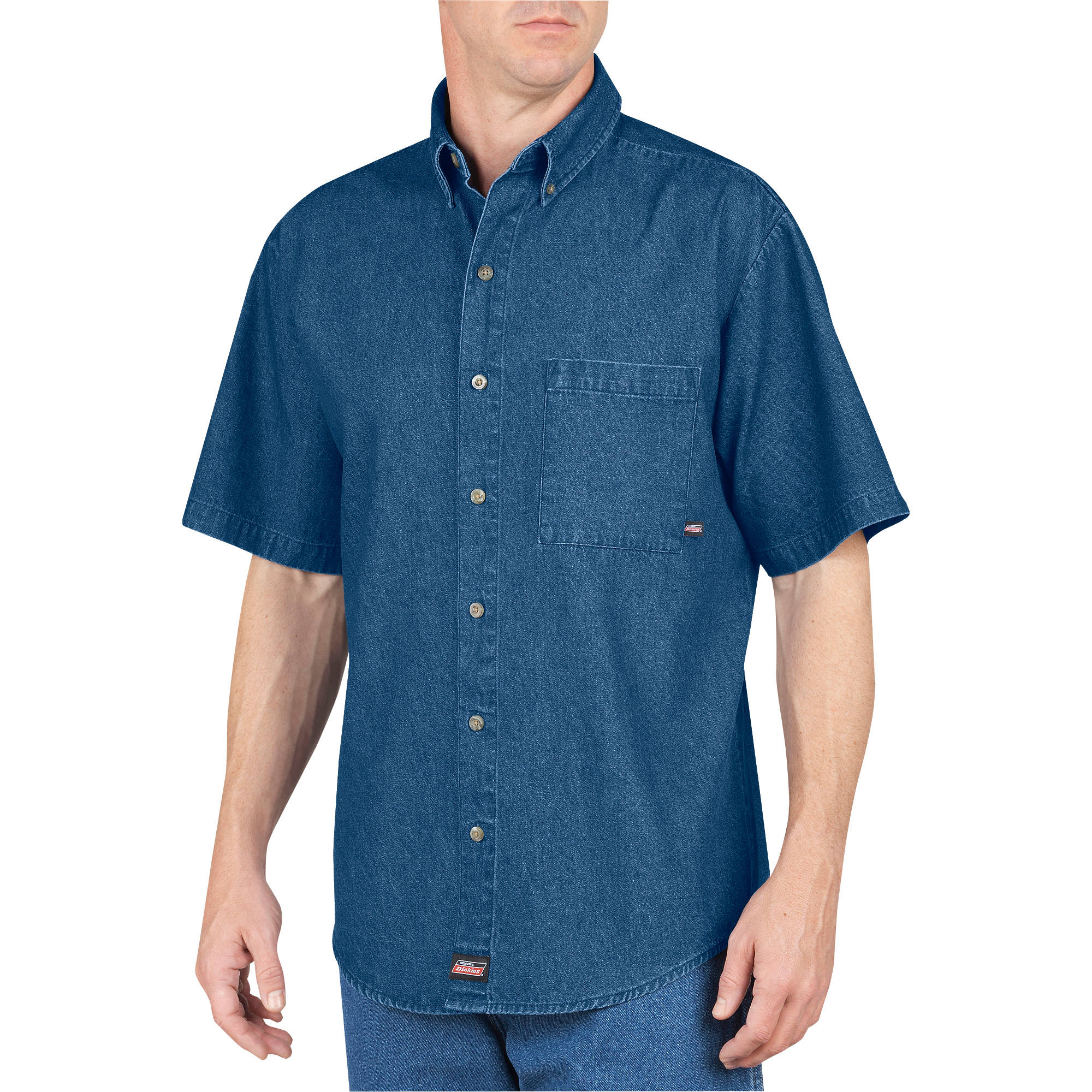 Big Men's Short Sleeve Denim Shirt