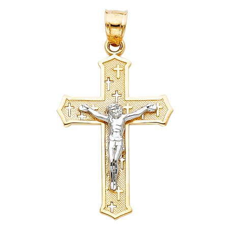 High Gloss Crucifix Cross 14k Solid Two Tone Gold Yellow & White 1.20 inches Solid Pendant No Chain -