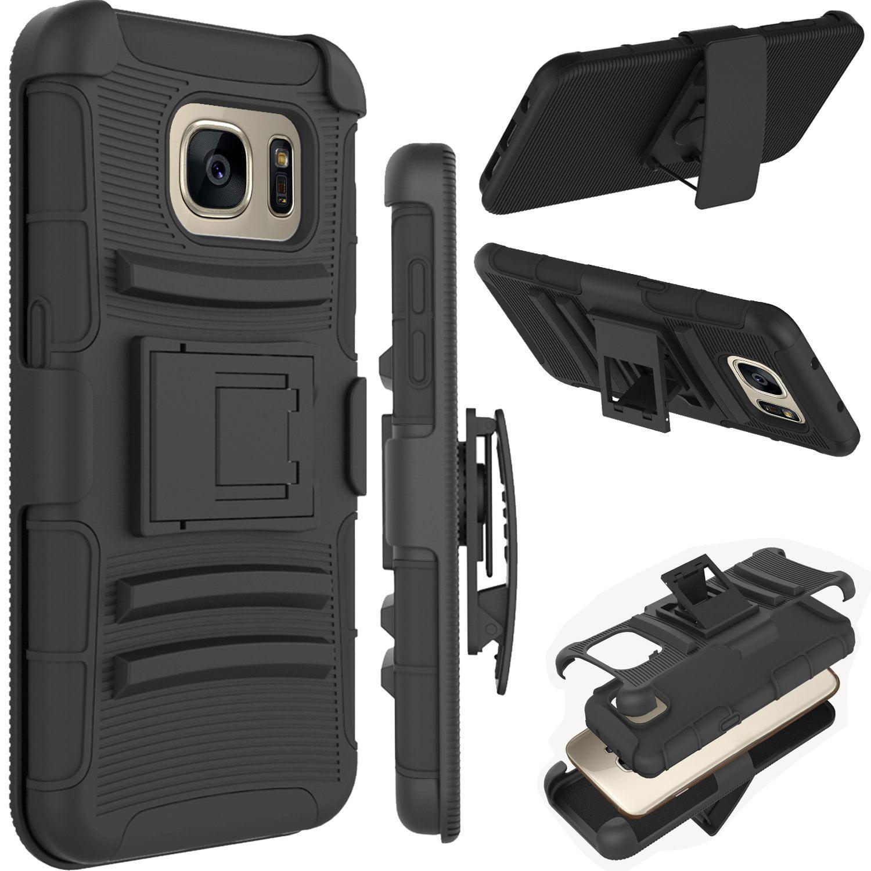 Galaxy S7 Edge Case, Samsung SM-G935 Case, S7 Edge Holster Belt Clip, Tekcoo [Hoplite Series] Shock Absorbing Holster Locking Belt Clip Defender Heavy Kickstand Case Cover For Samsung Galaxy S7 Edge
