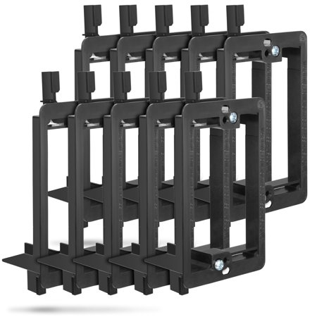 Fosmon [10 PACK] 1 Gang Low Voltage Easy Install Flush Mount Mounting Bracket - Black