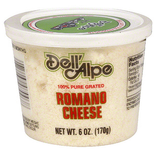 Dell' Alpe Grated Romano Cheese, 6 oz (Pack of 12)