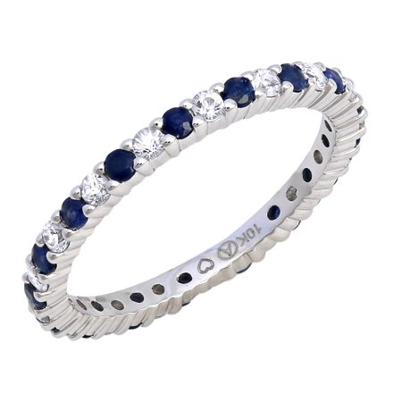 10kt White Gold 9/10ct Blue and White Sapphire Eternity Stackable Band Ring