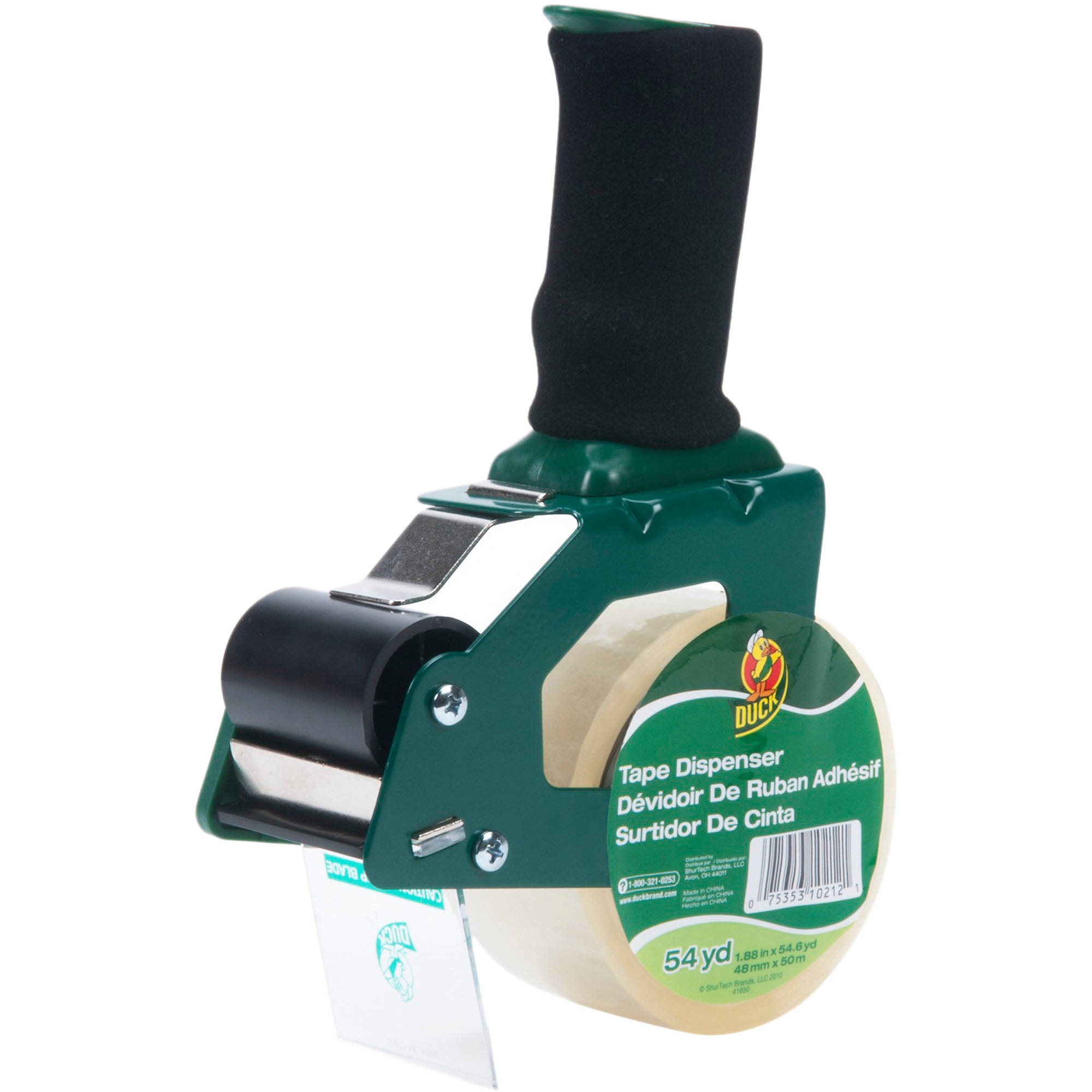 Duck Brand Foam Handle Tape Gun with Tape, 1.88 in. x 54.6 yd., Green, 1-Count