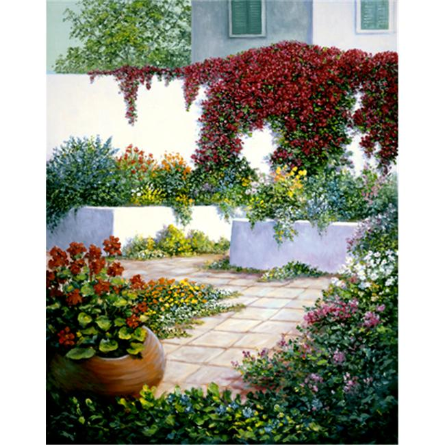 The Monarch Collection TMC-WB-02-30X40 Tropical Courtyard  - 30 X 40 Painting