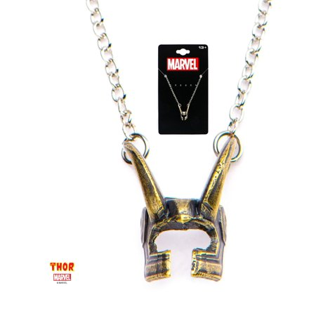 Casted Brass Loki Helmet Pendant with Stainless Steel Chain Thor