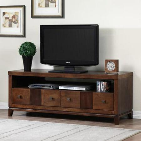retro tobacco finish 2 drawer entertainment center. Black Bedroom Furniture Sets. Home Design Ideas