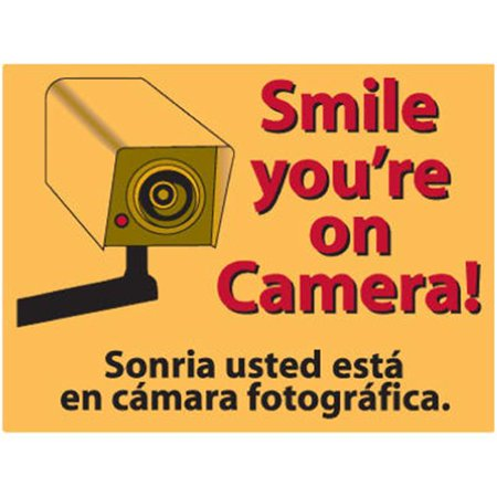 Centurion SIGN SMILE Yellow, Smile Your On Camera Sign - 9 x 12 in