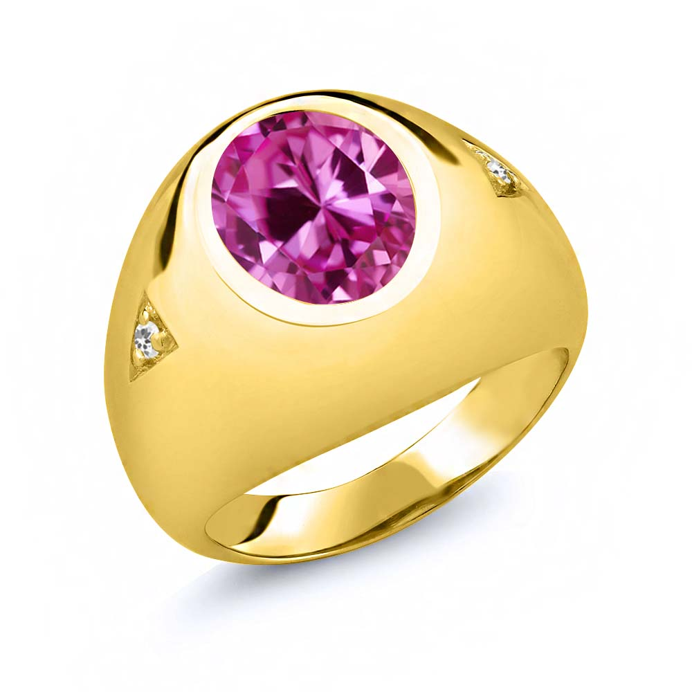 6.04 Ct Oval Pink Created Sapphire White Sapphire 14K Yellow Gold Men's Ring by