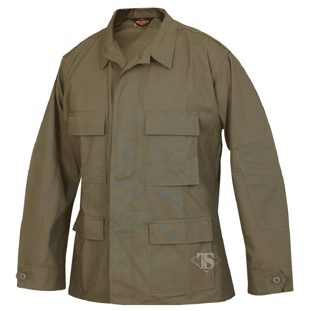 Tru-Spec 100% Cotton Ripstop BDU Jacket, Olive Drab, Large, Regular Length 1568005