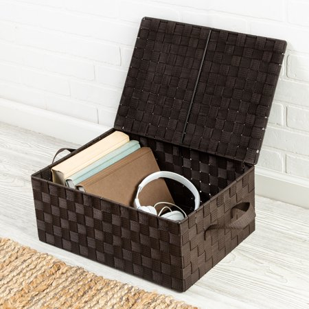 Honey Can Do Woven Storage Box with Hinged Lid, Espresso ()