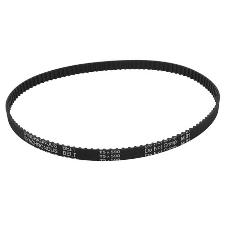 Unique Bargains T5x590 118 Teeth 5mm Pitch Rubber Cogged Industrial Timing Belt Black 590mm - image 2 of 2