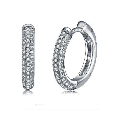 Hoop Style Pave Cubic Zirconia Earrings Ginger Lyne Collection