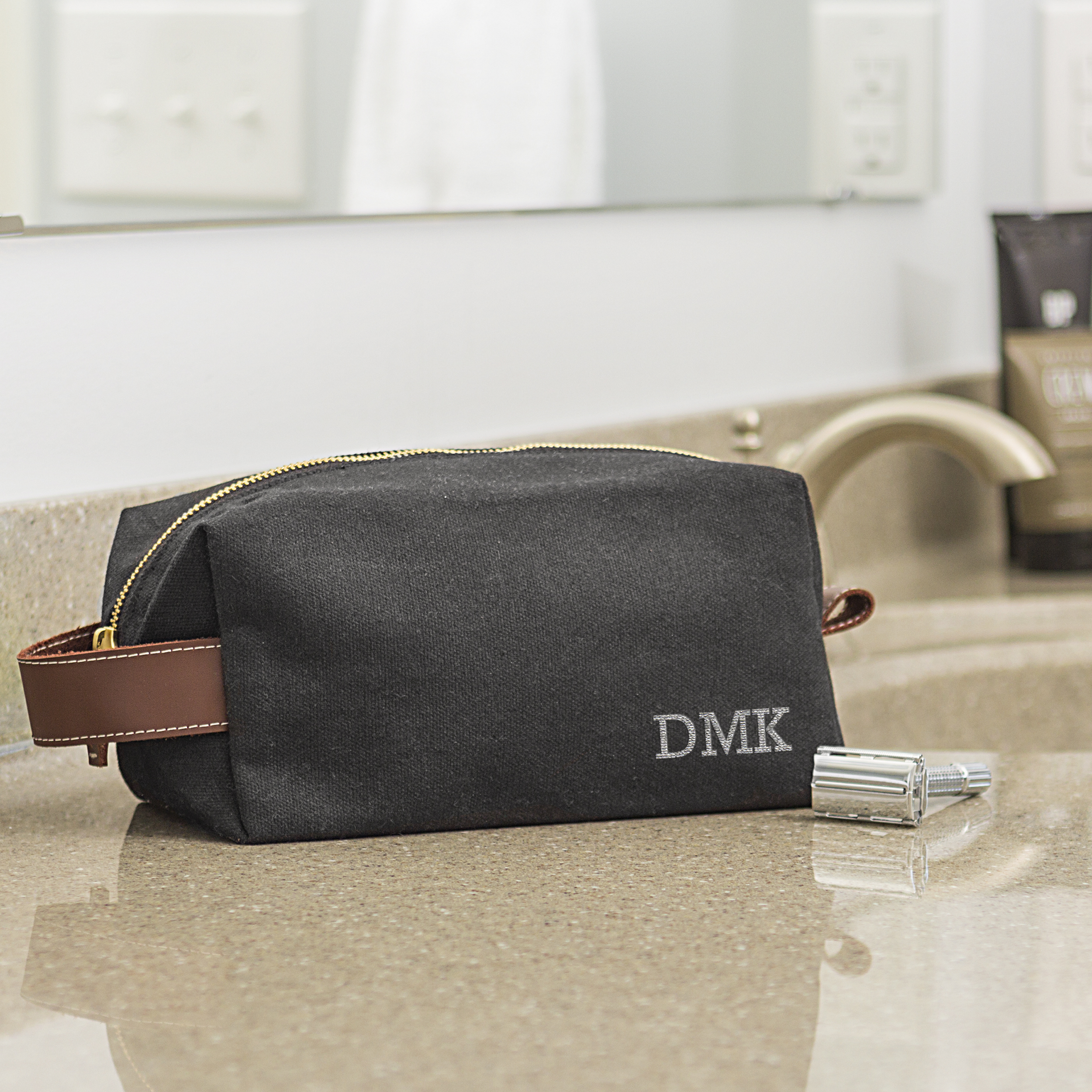 Personalized Men's Waxed Canvas and Leather Dopp Kit, Black