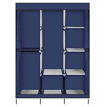 "Ktaxon 71"" Portable Fabric Clothes Storage Closet Organizer Shelf Wardrobe Rack ,NavyBlue"
