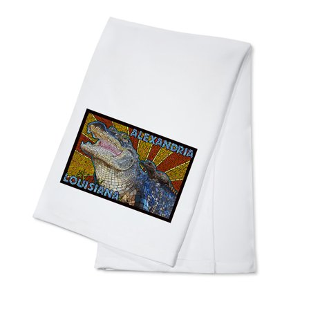 Alexandria, Louisiana - Alligator Mosaic - Lantern Press Artwork (100% Cotton Kitchen Towel) (Alexandria Louisiana Halloween)