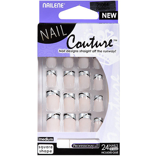 Nailene Nail Couture Nail Kit, Medium Square Shape, 25 pc