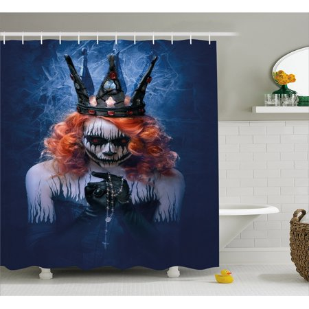 Queen Shower Curtain, Queen of Death Scary Body Art Halloween Evil Face Bizarre Make Up Zombie, Fabric Bathroom Set with Hooks, 69W X 70L Inches, Navy Blue Orange Black, by - Halloween Bathroom Decor