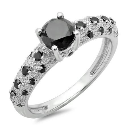Dazzlingrock Collection 1.15 Carat (ctw) 10K Round Black Diamond Bridal Vintage & Antique Engagement Ring, White Gold, Size 5