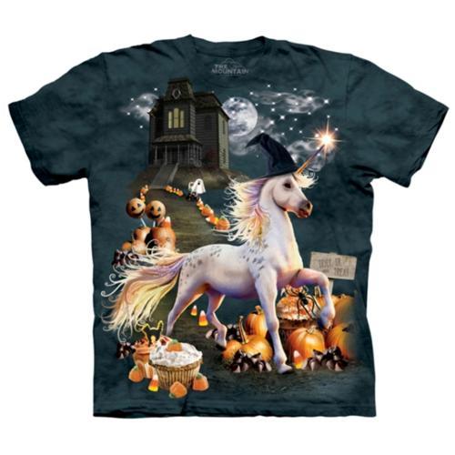The Mountain Kids Green 100% Cotton Halloween Unicorn Novelty T-Shirt (M)